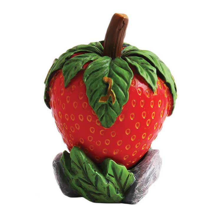 Polyresin Strawberry Collectors Dreidel with display stand. In full color box.