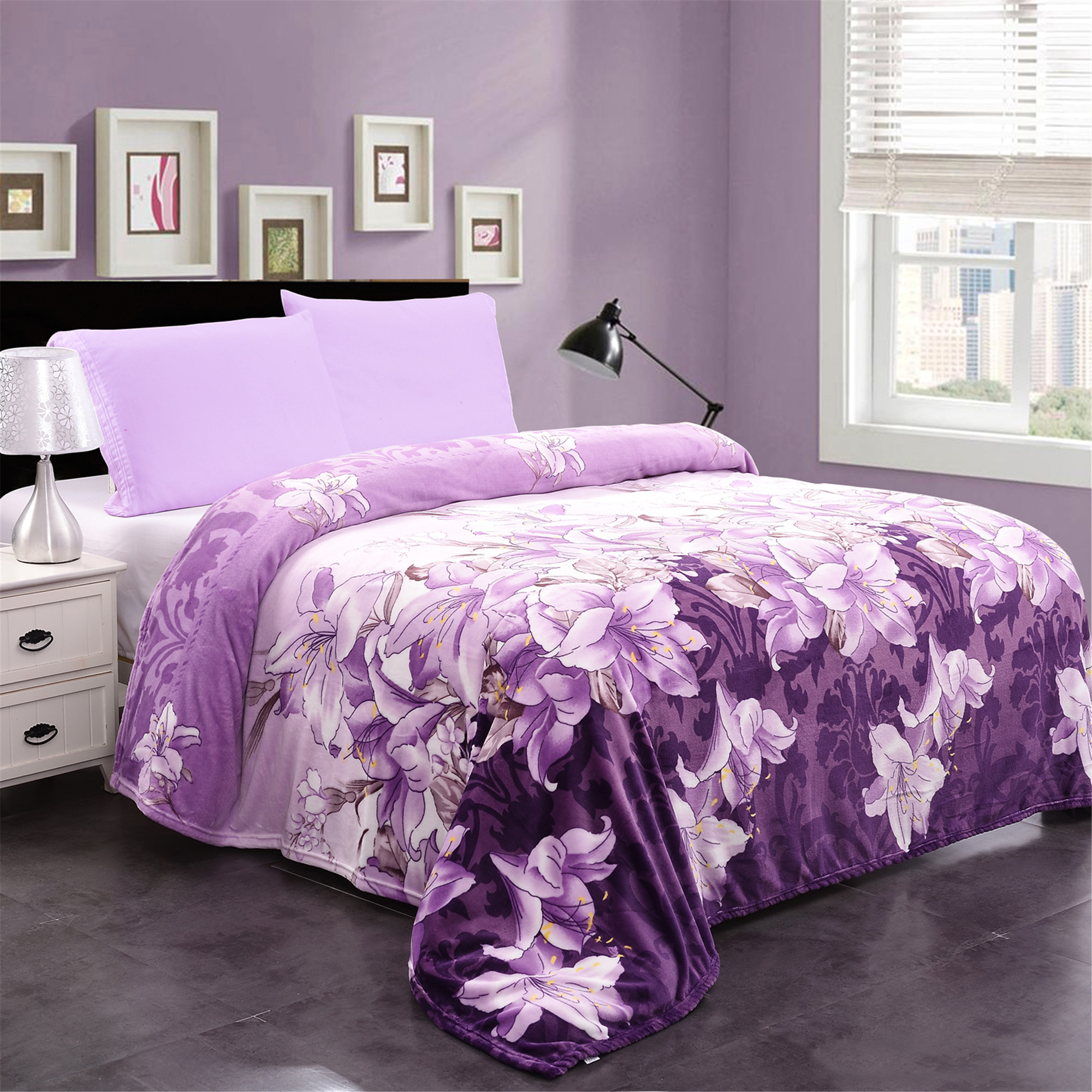 All Seasons Micro-Plush Flannel Fleece Blanket Lightweight Soft Warm Purple Floral Printed For King Bed