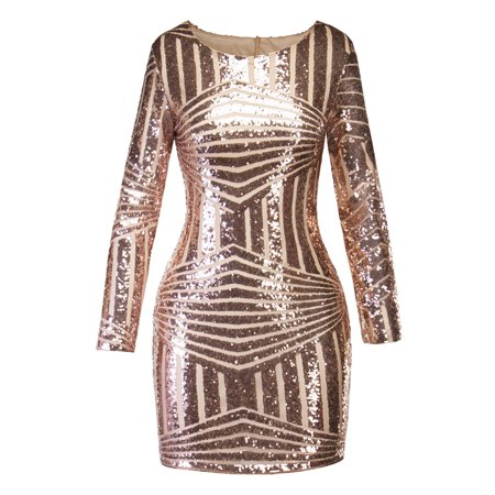 Women Bandage Bodycon Evening Party Cocktail Short Mini Sequins Dress Backless Long Sleeve Glittering Club Shiny (Confetti Sequins Dress)