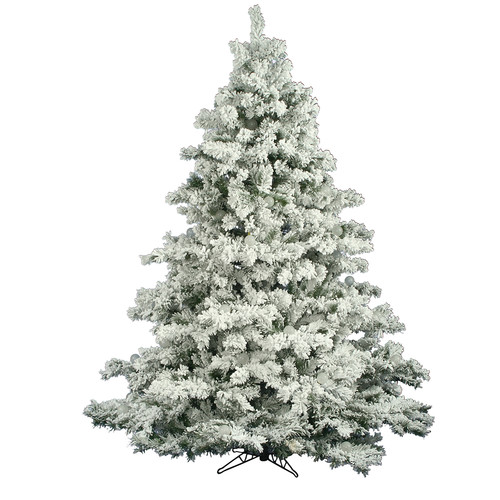 "Unlit 6.5' x 62"" Alaskan Pine Artificial Christmas Tree, Flocked White on Green"