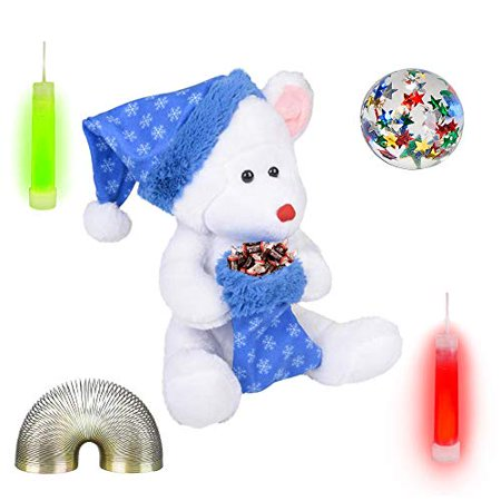 "Christmas 9"" Plush White Bear, Stocking, Candy, Bounce Ball, Glow Sticks, & Coil Fidget Gift Set (10 Piece)"