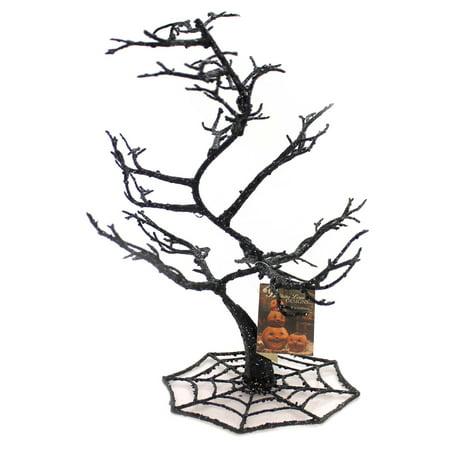 Halloween SPIDER WEB TREE Plastic Glittered Black Sn6608 - Halloween Tree Movie Quotes