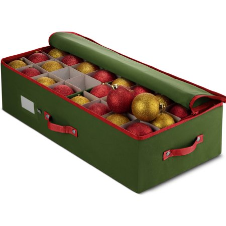 UnderBed Christmas Ornament Storage Box With Lid - Stores Up To 64 Standard Christmas Ornaments, Xmas Holiday Accessories Storage Container with Dividers - 25.9 x 12.9 x 6.6