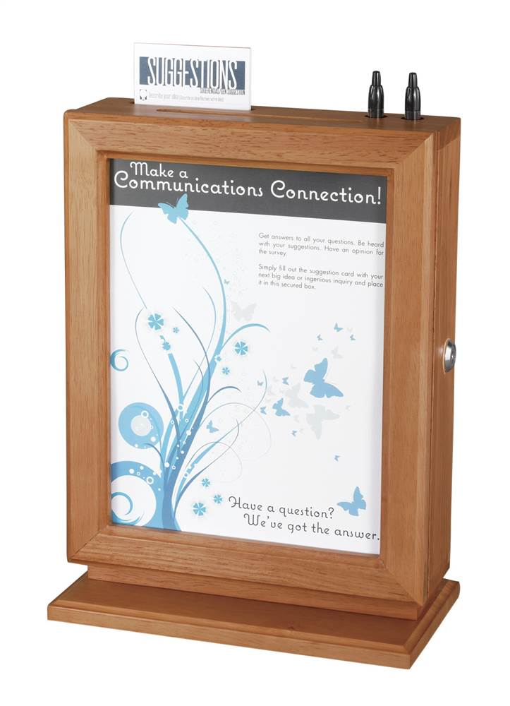 Customizable Wood Suggestion Box (Cherry) by Safco
