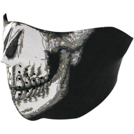 Zan Headgear Half Face Mask Skull Face (White, OSFM)](Half Face Half Skull Halloween)
