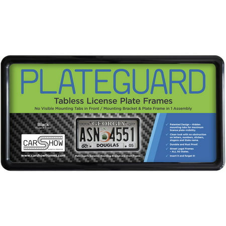 PLATEGUARD Tabless License Plate Frame and Holder/Bracket, Black - License Plate Attachment Kit