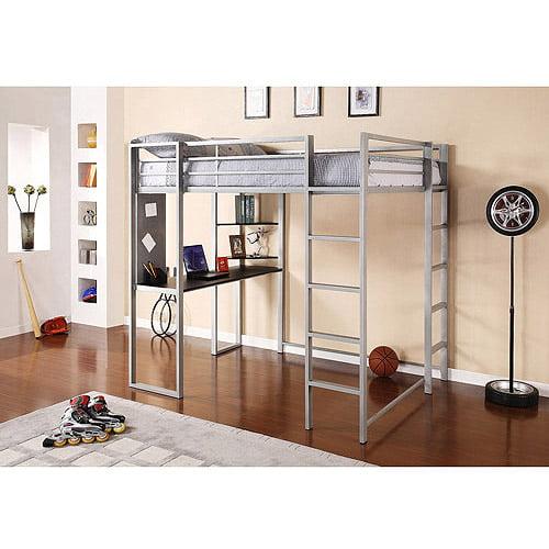 Abode Full Metal Loft Bed over Workstation Desk, Multiple Colors