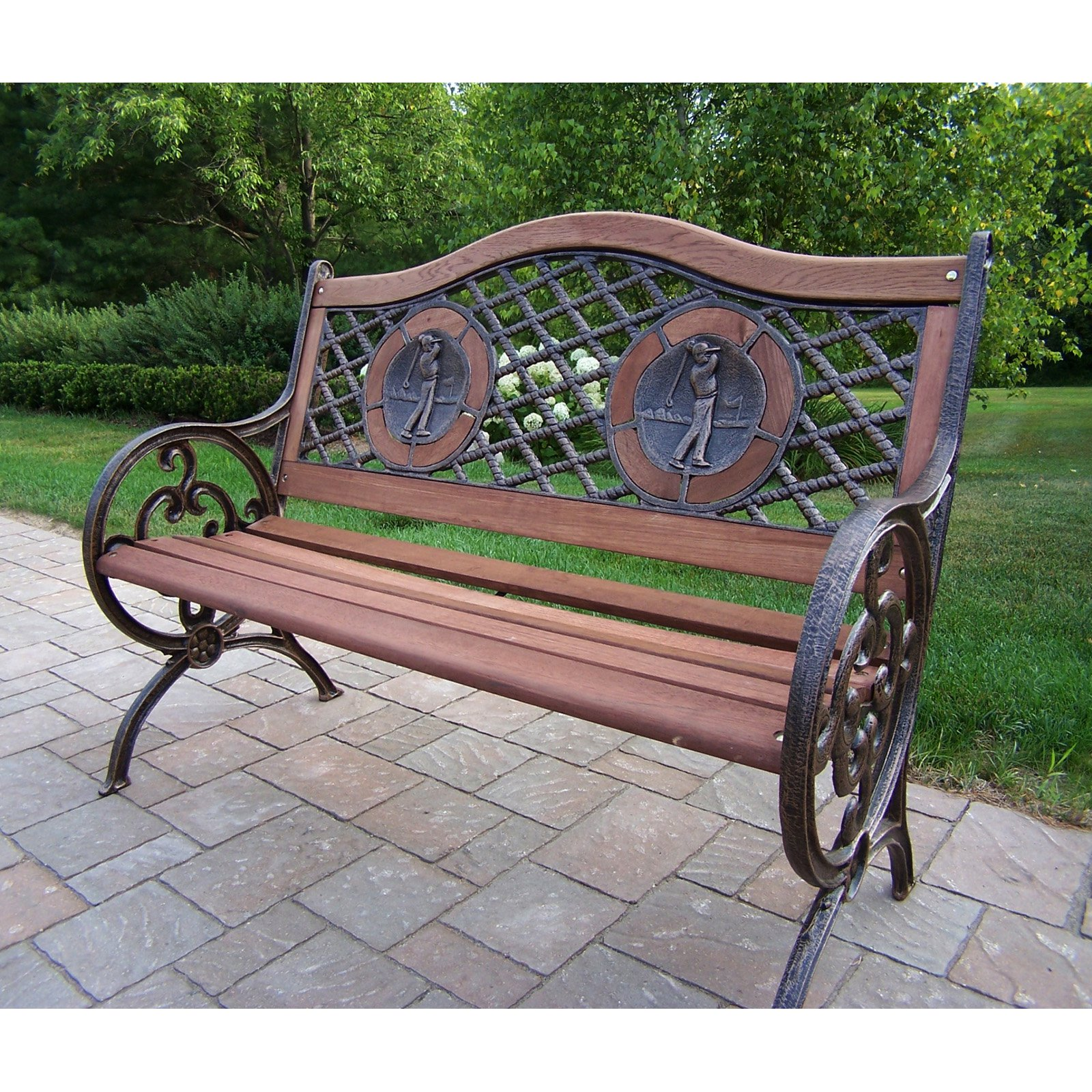 Oakland Living Double Golfer Cast Iron and Wood Curved Back Bench in Antique Bronze Finish