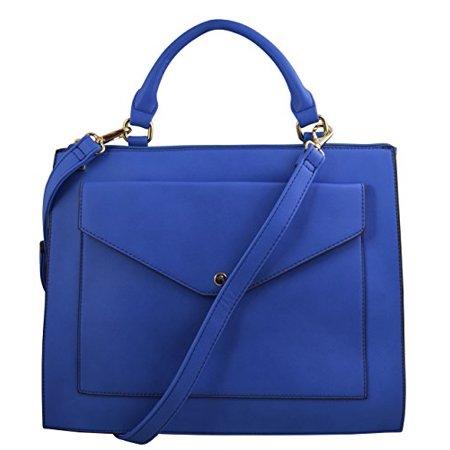 Katie Q Elegant Structured Slim Office Satchel Bag with Envelope Style Front Pocket Large Front Pocket Satchel Handbag