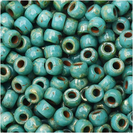 Czech Glass Matubo, 7/0 Seed Beads, 7.5 Gram Tube, Turquoise Green Picasso