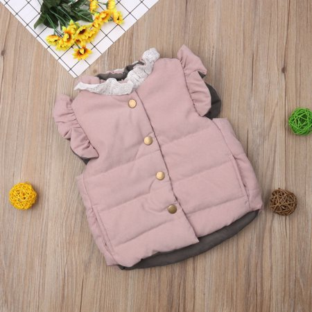 Winter Warm Kids Baby Girls Toddler Clothes Bow Waistcoat Vest Thick Coat Jacket Sleeveless Outerwear Pink - Baby Pink Lady Jacket