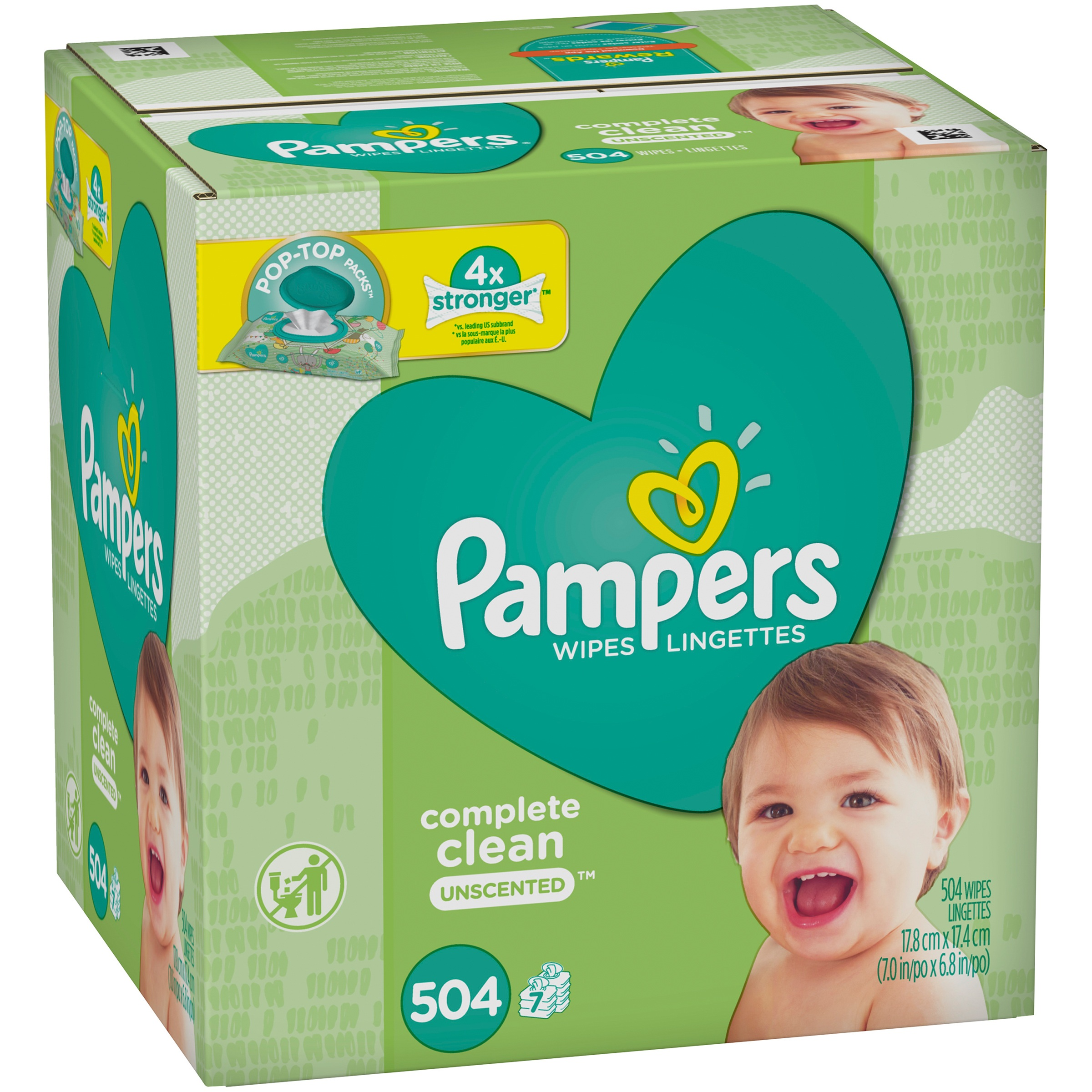 Pampers Complete Clean Unscented Baby Wipes, 7X (504 count)