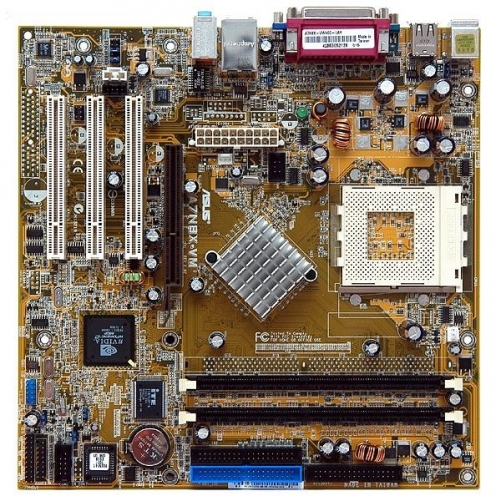 Asus A7N8X-VM Desktop Motherboard - NVIDIA, GeForce 6100 Chipset - Socket A PGA-462 (Micro ATX - 1 x Processor Support - 2 GB DDR SDRAM Maximum RAM - 400 MHz Memory Speed Supported - 2 x Memory Slots - Ultra ATA/133 ATA-7 - On-board Video Chipset - NVIDIA)