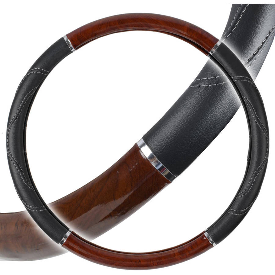 "Motor Trend Premium 18"" Inch Heavy-Duty Truck Wooden Steering Wheel Covers, Automotive Accessories"