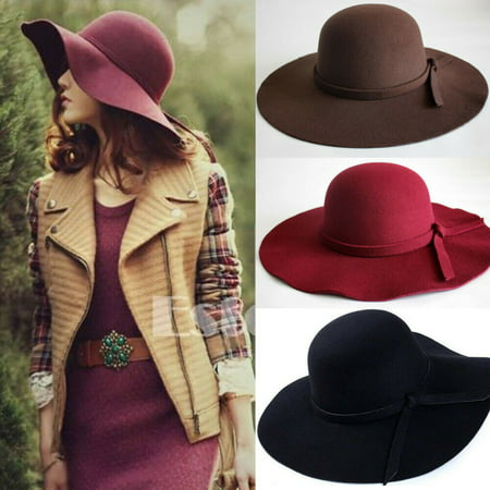 Sun Vintage Women's Floppy Bowknot Cloche Cap Wide Brim Wool Felt Bowler Fedora Ladies Holiday Outdoor Hat