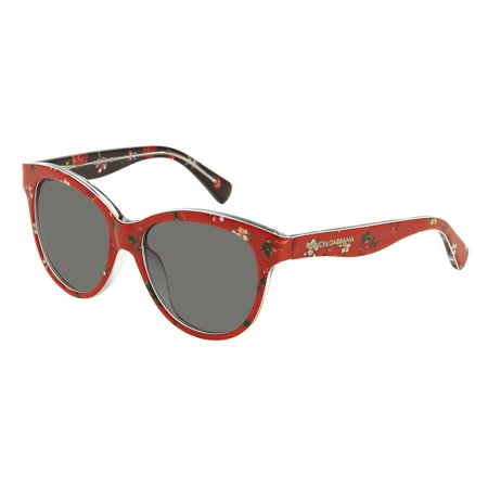 DOLCE & GABBANA Sunglasses DG 4176 298787 Rose/Flowers On Red (Round Sunglasses With Flowers)