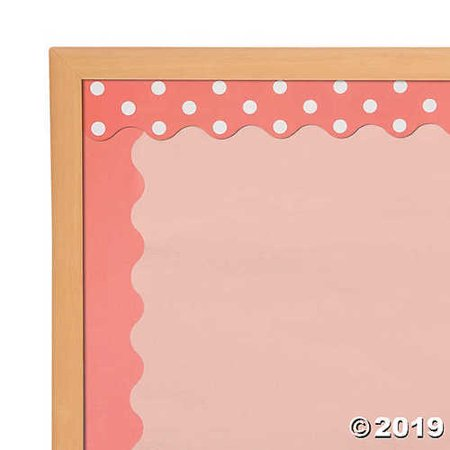 Double-Sided Solid & Polka Dot Bulletin Board Borders - Coral - Borders For Bulletin Boards