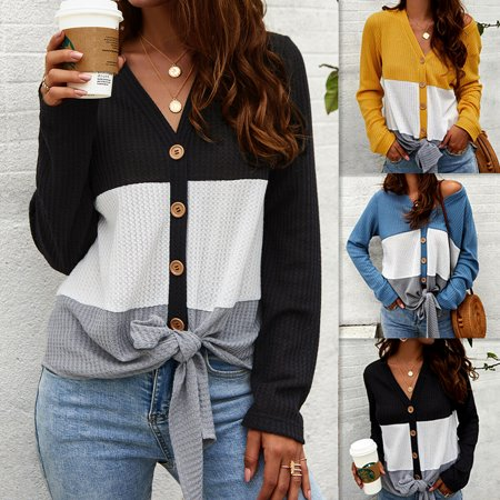 Women knitted Blouse Tee Shirt Long Sleeve T-shirts Casual V Neck Tops Loose Plus Size