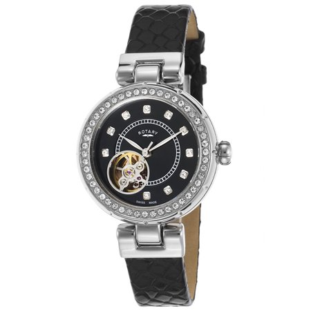 Ls003-A-13 Women's Project/D London Auto Black Leather And Dial Ss - Auto Black Dial