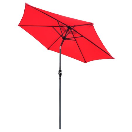 Yescom 8ft Aluminum Outdoor Patio Umbrella w/ Crank Tilt Deck Market Yard Beach Pool Caf ()