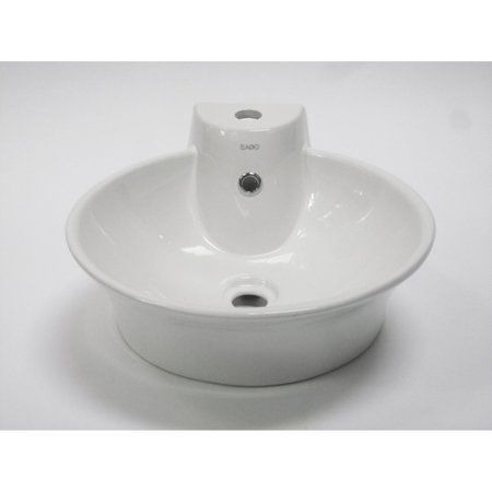 Eago Round Above Mount Ceramic Bathroom Sink with Single Faucet (Ceramic Above Mount)