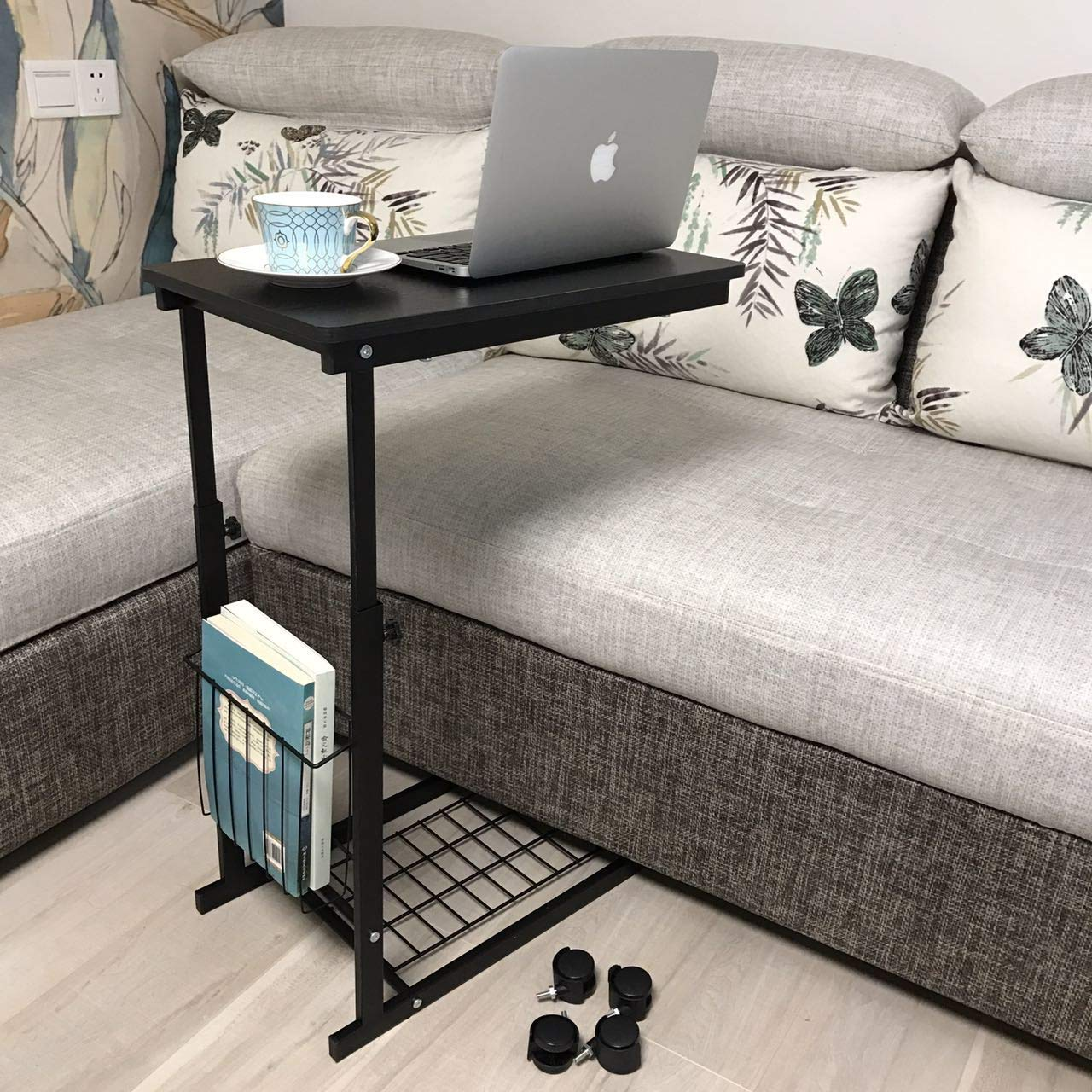 Height Adjustable Sofa Side Table Wheel Mobile Computer Desk