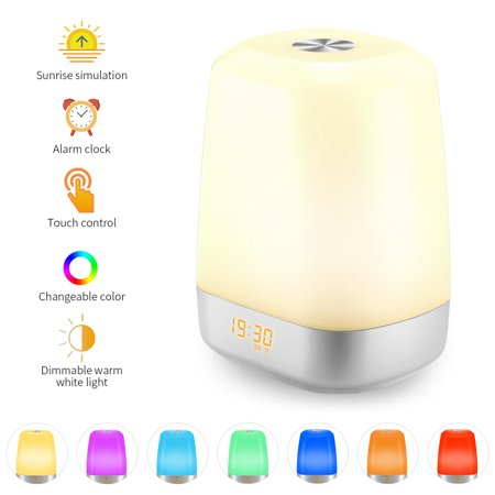 Sunrise Alarm Clock Light - Wake Up Light Simulation Sunrise 2018 Upgrade LED Digital Clock Alarm Clock Touch Control Dimmable Bedside Lamp with 5 Natural Sounds Multicolor Modes Rechargeable