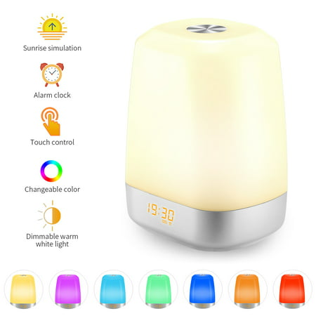 Wake Up Light, Sunrise Simulation Light, Alarm Clock Light, Rechargeable, Touch Sensor Control, 5 Natural Sounds, 3 Modes with Multicolor, Bedside Night Light for Bedroom, Playroom,