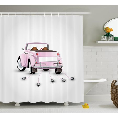 Love Shower Curtain Set, Just Married Themed Open Roof Top Car Love for Bride and Groom Picture Wedding Decorations, Bathroom Decor, Pink White, by Ambesonne (Car Themed Decor)