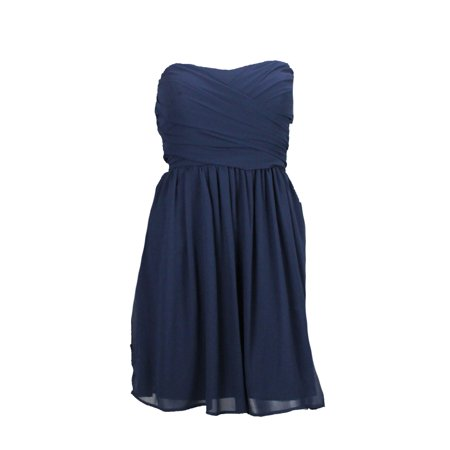 BCX Juniors Navy Strapless Bridesmaid Wrap Bustier Dress 1 ()
