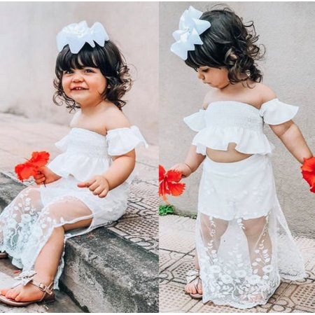 boutique dresses : Boutique Toddler Kids Baby Girl White Lace Floral Tops Long Skirt Dress Outfits Clothes