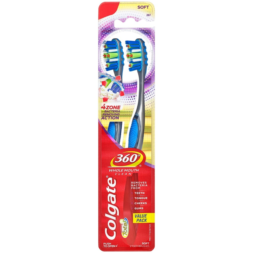 Colgate 360 Advanced 4 Zone Toothbrush, Soft - 2 Count