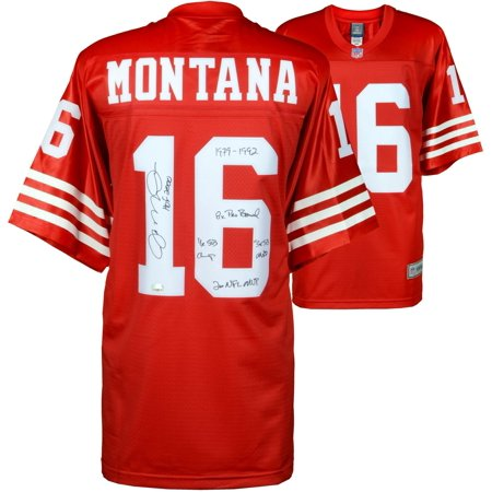 c589d7ba6cf Joe Montana San Francisco 49ers Autographed Pro-Line Jersey with Multiple  Career Stat Inscriptions -