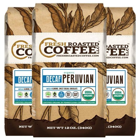 Organic Peruvian Water Processed Decaf Coffee, 12 oz. Ground Bags, Bird Friendly, Fair Trade, Fresh Roasted Coffee LLC. (3