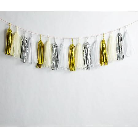 Quasimoon Metallic Champagne Gold Mix Tissue Paper Tassel Garland Kit (16-PACK) by PaperLanternStore