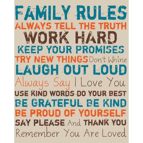 PTM Images Family Rules Textual Art on Canvas in Blue and Orange