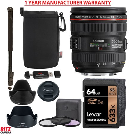 Canon Ef 24 70Mm F 4 0L Is Usm Standard Zoom Lens  Lexar 633X 64Gb Memory Card  77Mm Digital Filter Set  Monopod  Ritz Gear Pouch And Accessory Bundle