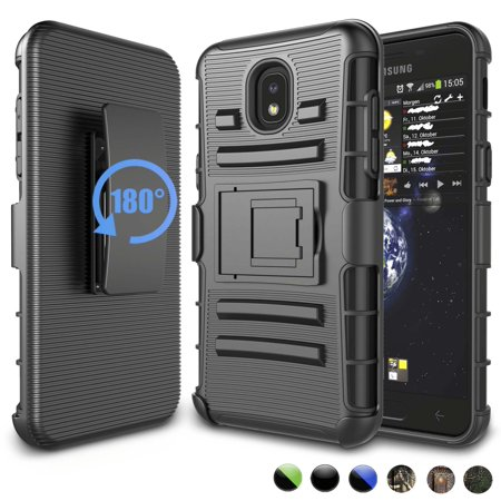 Njjex Combo Holster Phone Cases For Samsung Galaxy J7 2018 / J7 Aero / J7 Top / J7 Crown / J7 Aura / J7 Refine / J7 Eon, [Heavy Duty] Armor [Belt Clip Holster Kickstand] Rugged Case (Aero Armor Nexus)