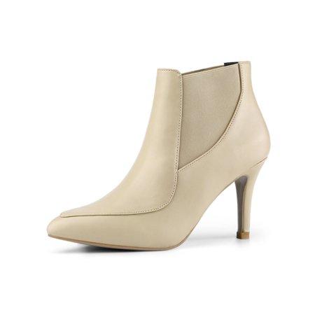 Women's Stiletto Heel Pointed Toe Chelsea Beige Booties - 6.5 M US - image 7 de 7
