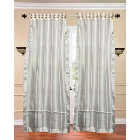 White with Silver trim Ring Top  Sheer Sari Curtain / Drape / Panel  - Piece ()