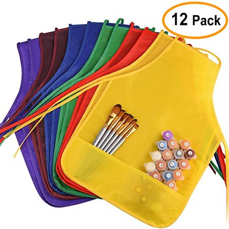 KUUQA 12 PCS Children Art Smock Kids Painting Baking Cooking Aprons Art Smock for Kitchen or Classroom, Painting Supplies(Machine Washable) Cooking Aprons For Kids