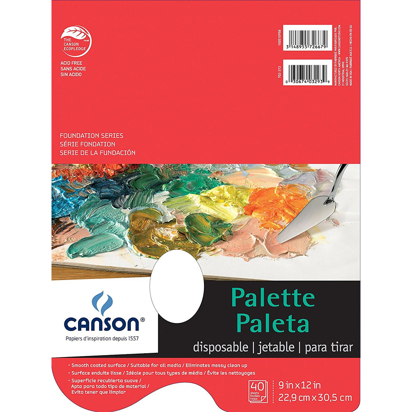 Canson Disposable Paper Pad Palette: White, 9 x 12 inches