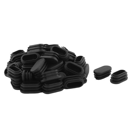 Unique Bargains Table Feet Plastic Oval Design Tube Pipe Insert Cap Black 20.5mm x 39mm 50Pcs Black Oval Tubes