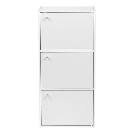 Iris 3 Tier Door Wood Bookcase Storage Shelf White