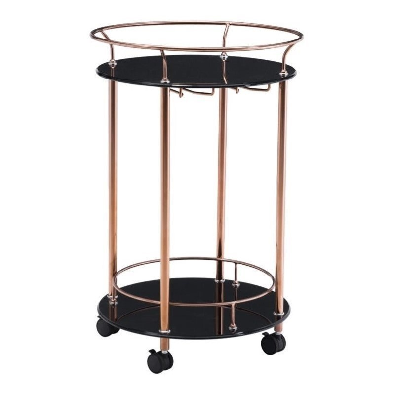 Zuo Plato Glass Kitchen Cart in Rose Gold