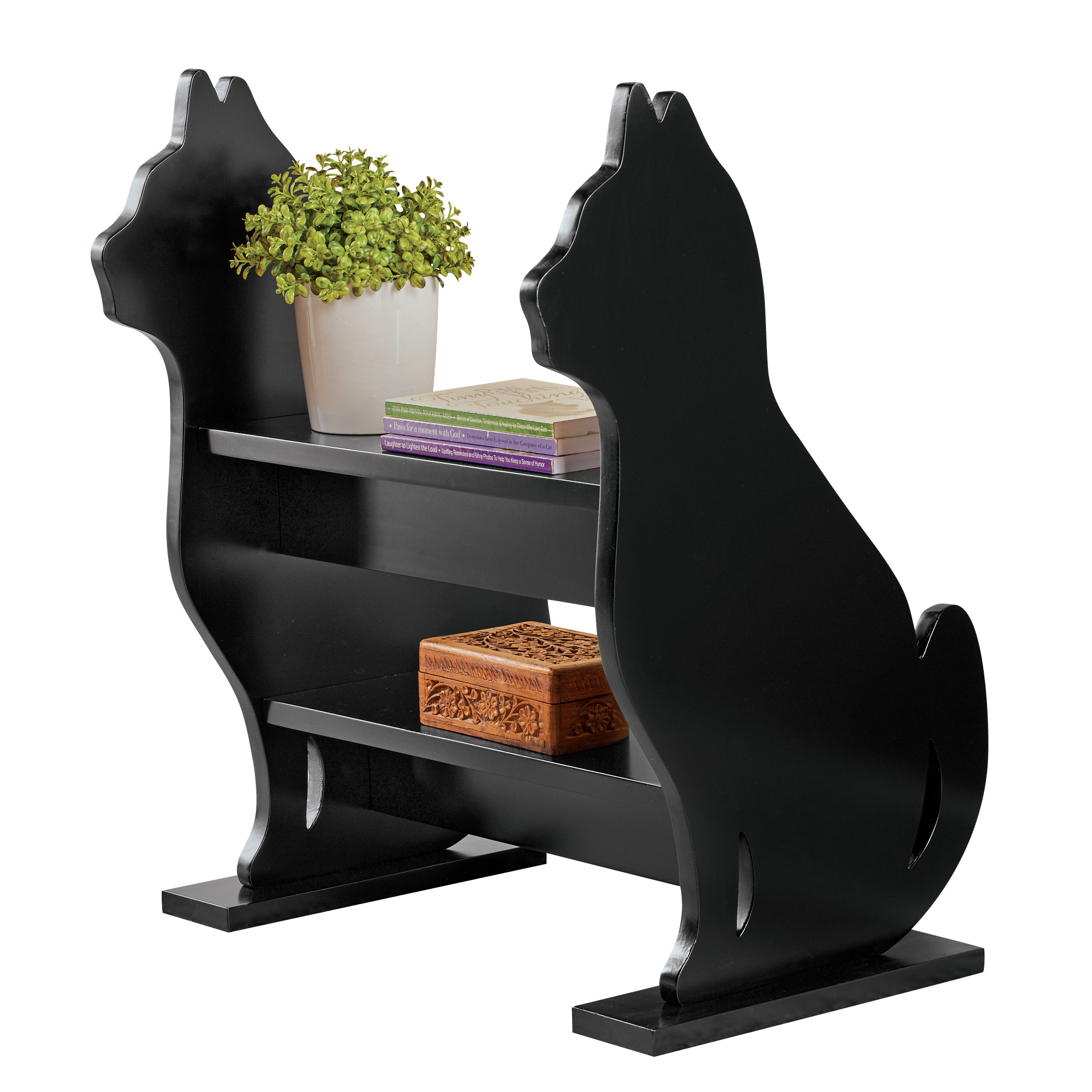 Cat Silhouette Entryway Storage Bench Use For Entry Ways Bedroom Or Family Room 2 Shelves For Books Knickknacks Etc 20 75 X 16 X 24 Walmart Com Walmart Com