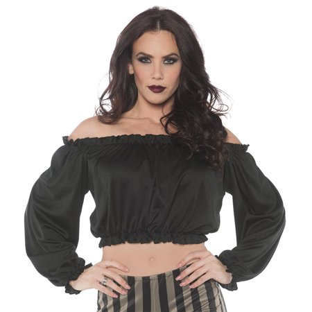 Gypsies Halloween Costumes (Pirate Womens Adult Black Gypsy Bar Wench Costume Crop)