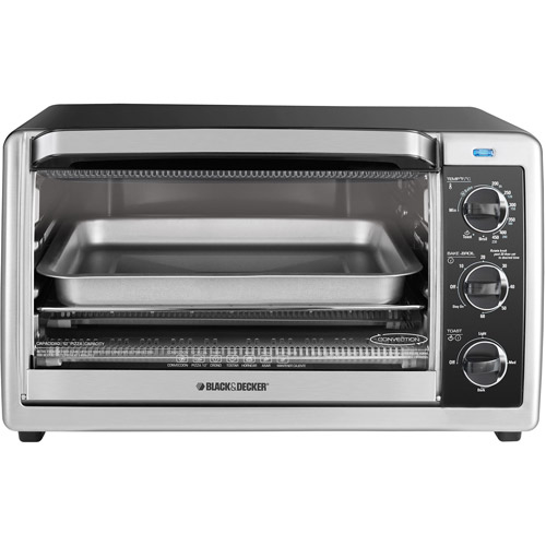 BLACK DECKER 6 Slice Convection Toaster Oven Black and Stainless