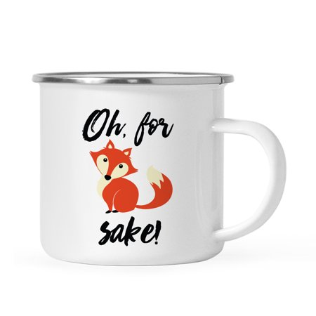 Andaz Press 11oz. Funny Witty Stainless Steel Campfire Coffee Mug Gag Gift, Oh for Fox Sake, Fox Graphic,