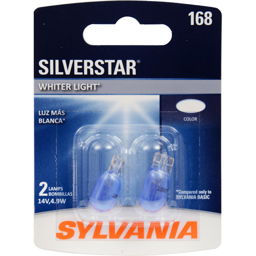 Sylvania 168 SilverStar Miniature Bulb, Contains 2 Bulbs